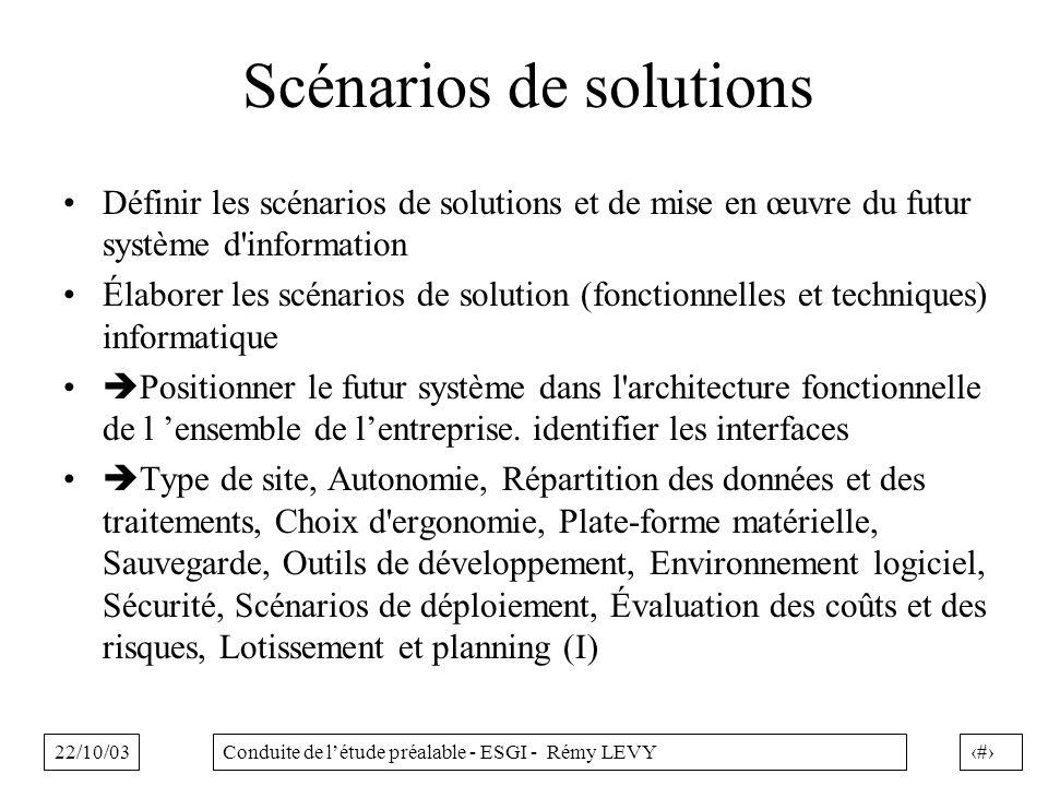 22/10/0339Conduite de létude préalable - ESGI - Rémy LEVY Scénarios de solutions Définir les scénarios de solutions et de mise en œuvre du futur systè