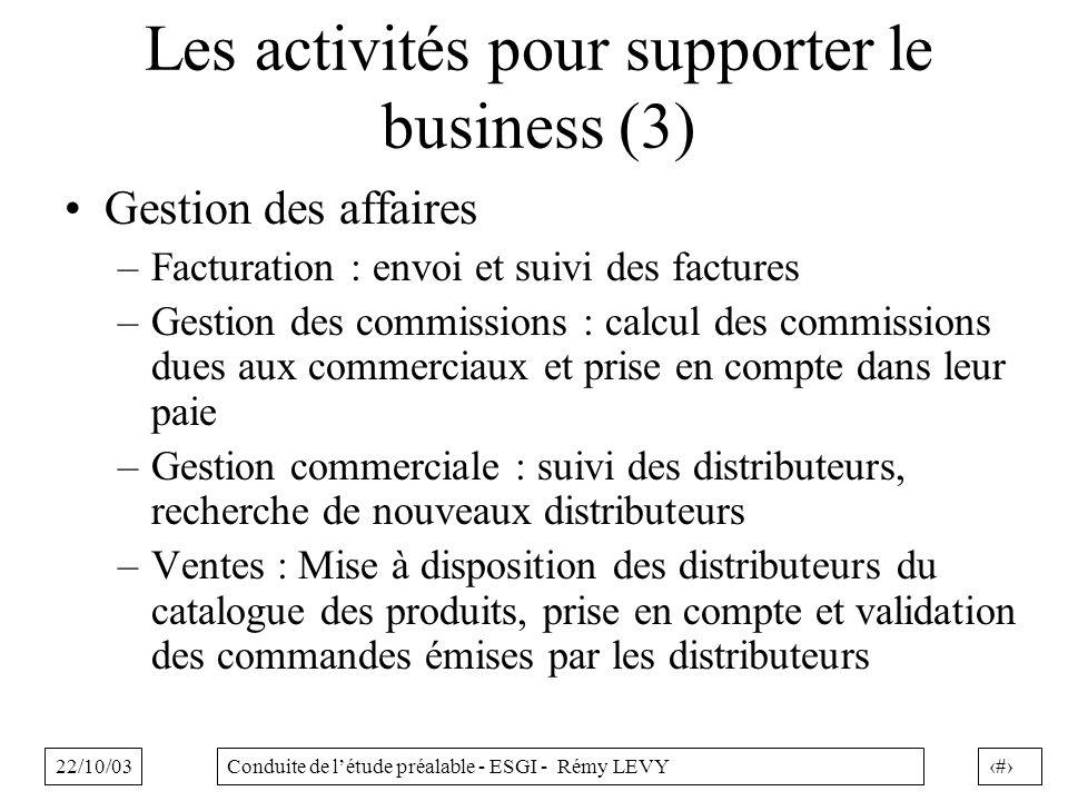 22/10/037Conduite de létude préalable - ESGI - Rémy LEVY Les activités pour supporter le business (3) Gestion des affaires –Facturation : envoi et sui