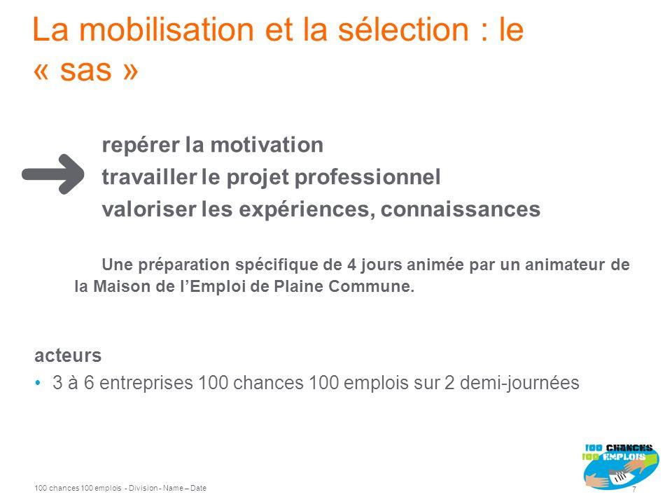 100 chances 100 emplois 7 - Division - Name – Date La mobilisation et la sélection : le « sas » repérer la motivation travailler le projet professionn