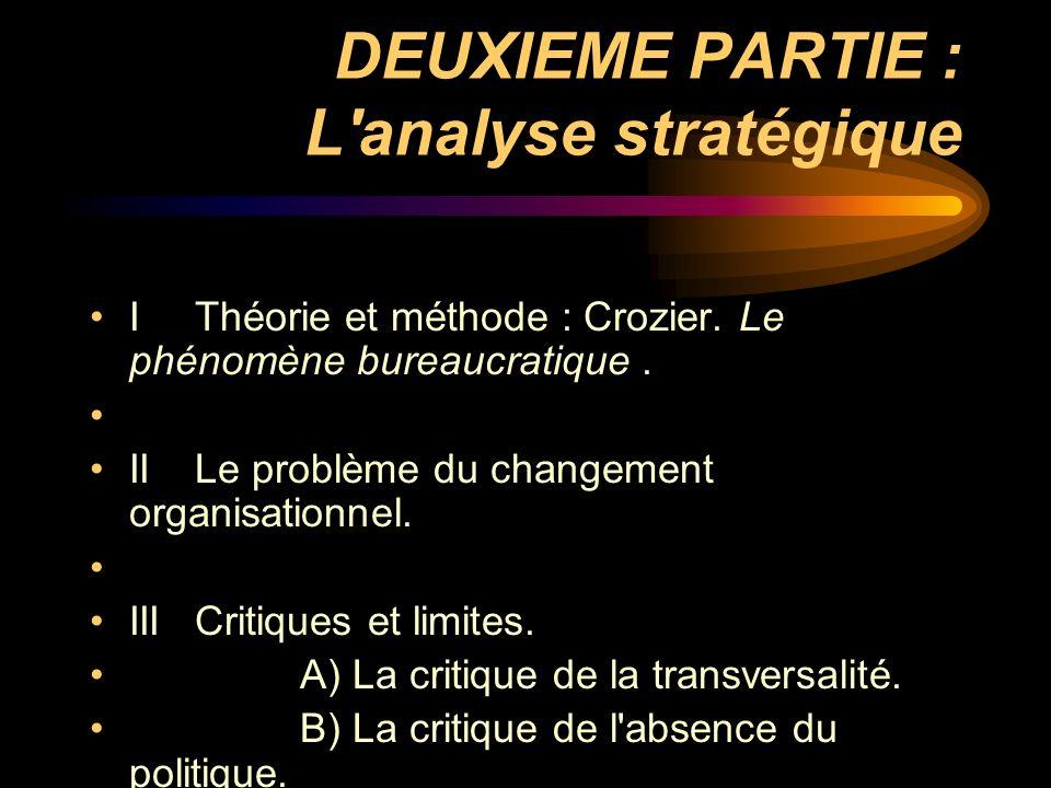 DEUXIEME PARTIE : L'analyse stratégique IThéorie et méthode : Crozier. Le phénomène bureaucratique. IILe problème du changement organisationnel. IIICr