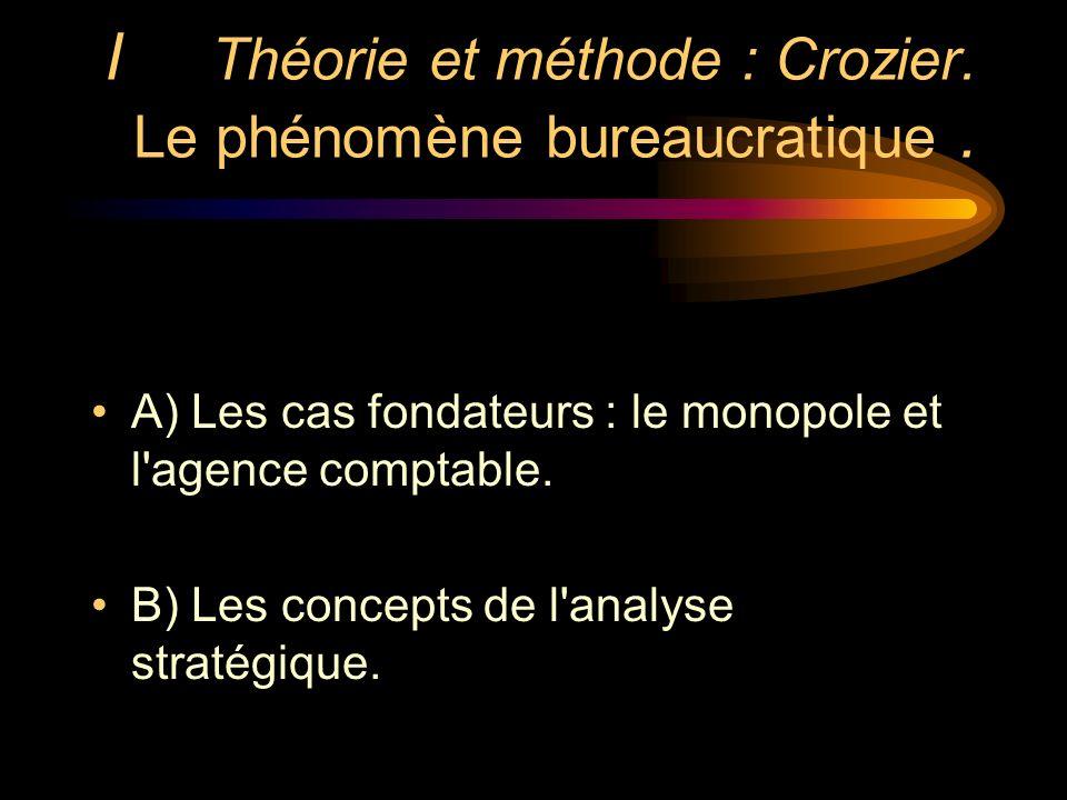 I Théorie et méthode : Crozier. Le phénomène bureaucratique. A) Les cas fondateurs : le monopole et l'agence comptable. B) Les concepts de l'analyse s