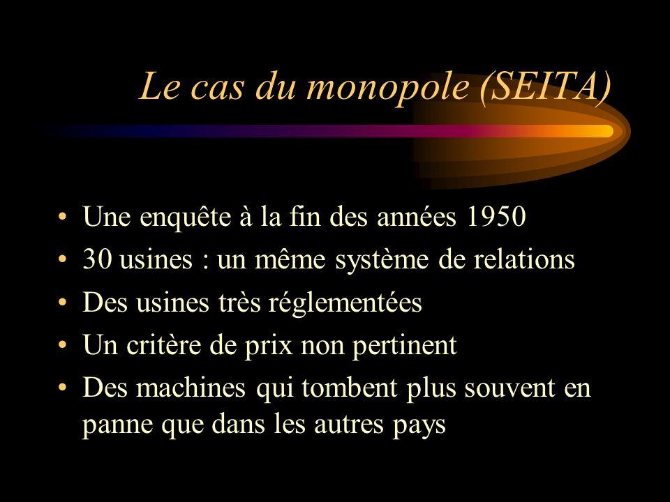 Le cas du monopole (SEITA) Une enquête à la fin des années 1950 30 usines : un même système de relations Des usines très réglementées Un critère de pr