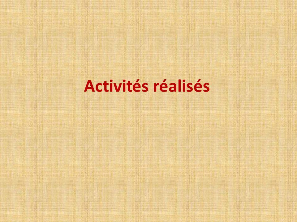 Activités réalisés
