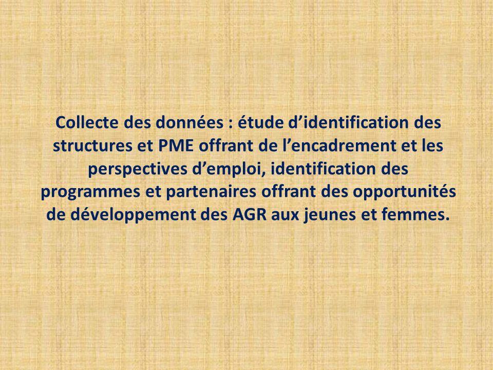 Collecte des données : étude didentification des structures et PME offrant de lencadrement et les perspectives demploi, identification des programmes
