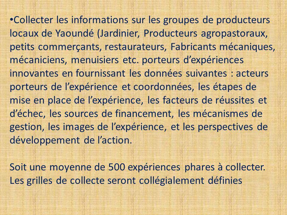 Collecter les informations sur les groupes de producteurs locaux de Yaoundé (Jardinier, Producteurs agropastoraux, petits commerçants, restaurateurs, Fabricants mécaniques, mécaniciens, menuisiers etc.