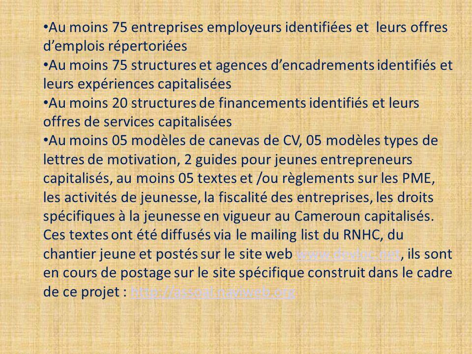 Au moins 75 entreprises employeurs identifiées et leurs offres demplois répertoriées Au moins 75 structures et agences dencadrements identifiés et leurs expériences capitalisées Au moins 20 structures de financements identifiés et leurs offres de services capitalisées Au moins 05 modèles de canevas de CV, 05 modèles types de lettres de motivation, 2 guides pour jeunes entrepreneurs capitalisés, au moins 05 textes et /ou règlements sur les PME, les activités de jeunesse, la fiscalité des entreprises, les droits spécifiques à la jeunesse en vigueur au Cameroun capitalisés.