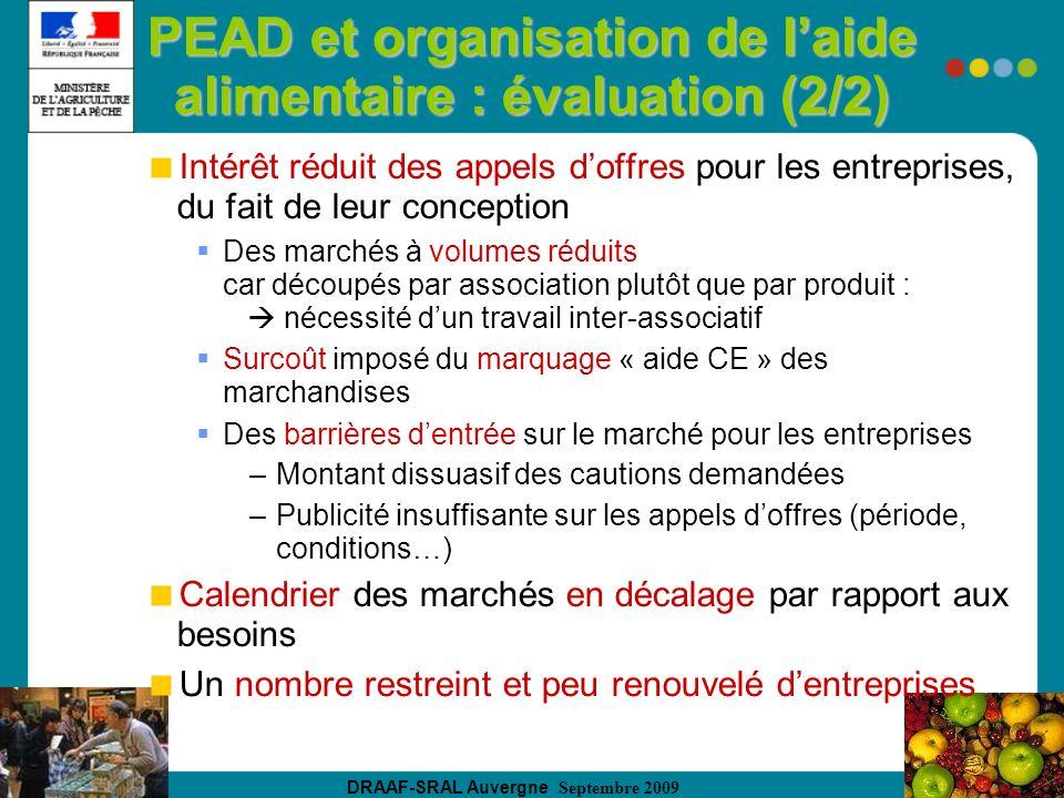 DRAAF-SRAL Auvergne Septembre 2009 PEAD et organisation de laide alimentaire : évaluation (2/2) Intérêt réduit des appels doffres pour les entreprises, du fait de leur conception Des marchés à volumes réduits car découpés par association plutôt que par produit : nécessité dun travail inter-associatif Surcoût imposé du marquage « aide CE » des marchandises Des barrières dentrée sur le marché pour les entreprises –Montant dissuasif des cautions demandées –Publicité insuffisante sur les appels doffres (période, conditions…) Calendrier des marchés en décalage par rapport aux besoins Un nombre restreint et peu renouvelé dentreprises