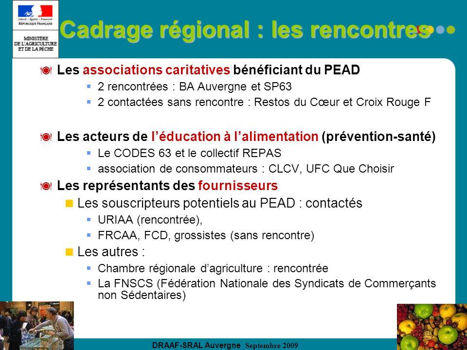 DRAAF-SRAL Auvergne Septembre 2009 Cadrage régional : les rencontres Les associations caritatives bénéficiant du PEAD 2 rencontrées : BA Auvergne et S