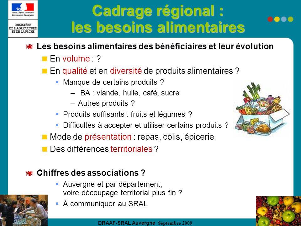 DRAAF-SRAL Auvergne Septembre 2009 Cadrage régional : les besoins alimentaires Les besoins alimentaires des bénéficiaires et leur évolution En volume