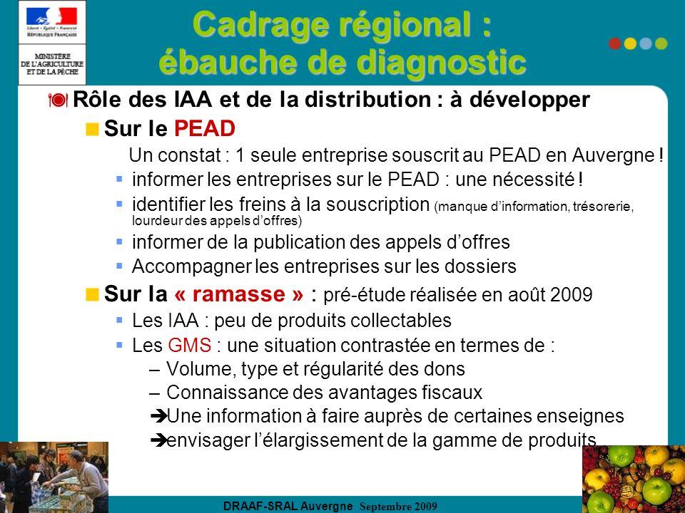 DRAAF-SRAL Auvergne Septembre 2009 Cadrage régional : ébauche de diagnostic Rôle des IAA et de la distribution : à développer Sur le PEAD Un constat : 1 seule entreprise souscrit au PEAD en Auvergne .