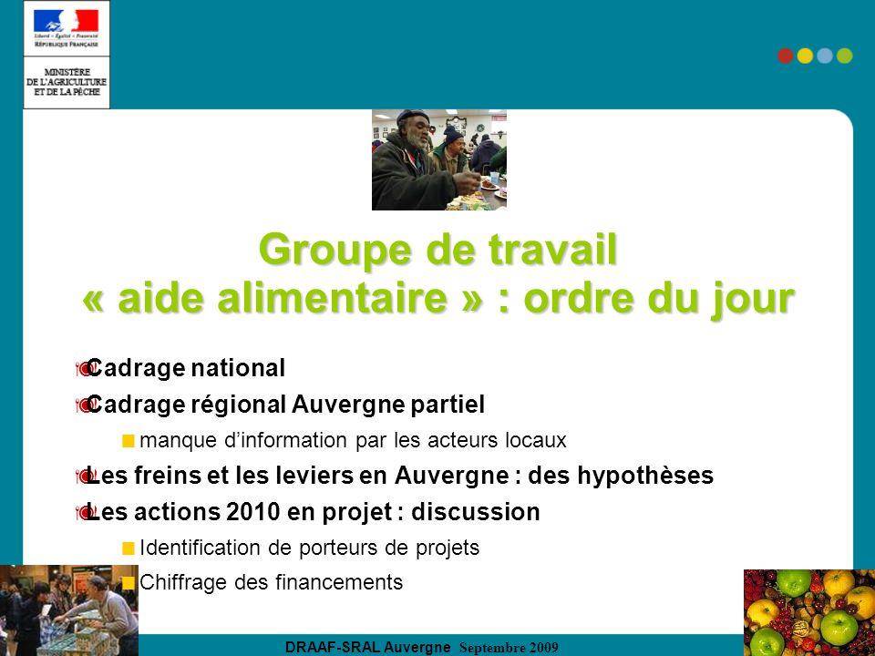 DRAAF-SRAL Auvergne Septembre 2009 Groupe de travail « aide alimentaire » : ordre du jour Cadrage national Cadrage régional Auvergne partiel manque di
