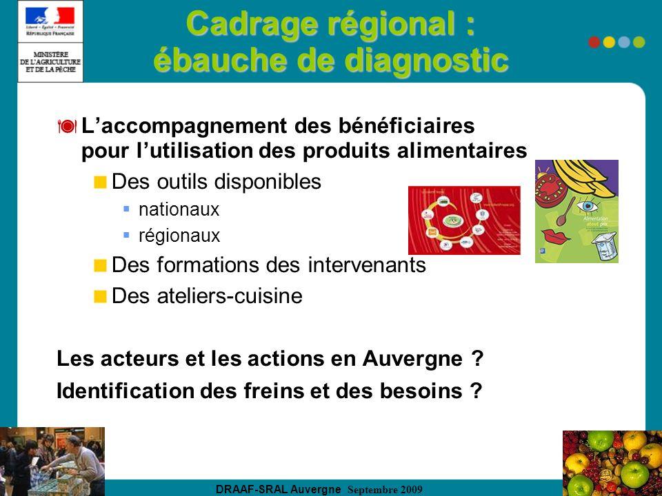 DRAAF-SRAL Auvergne Septembre 2009 Cadrage régional : ébauche de diagnostic Laccompagnement des bénéficiaires pour lutilisation des produits alimentai