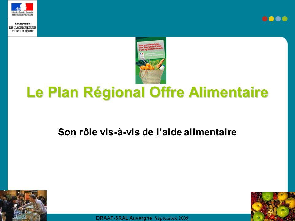 DRAAF-SRAL Auvergne Septembre 2009 Le Plan Régional Offre Alimentaire Son rôle vis-à-vis de laide alimentaire