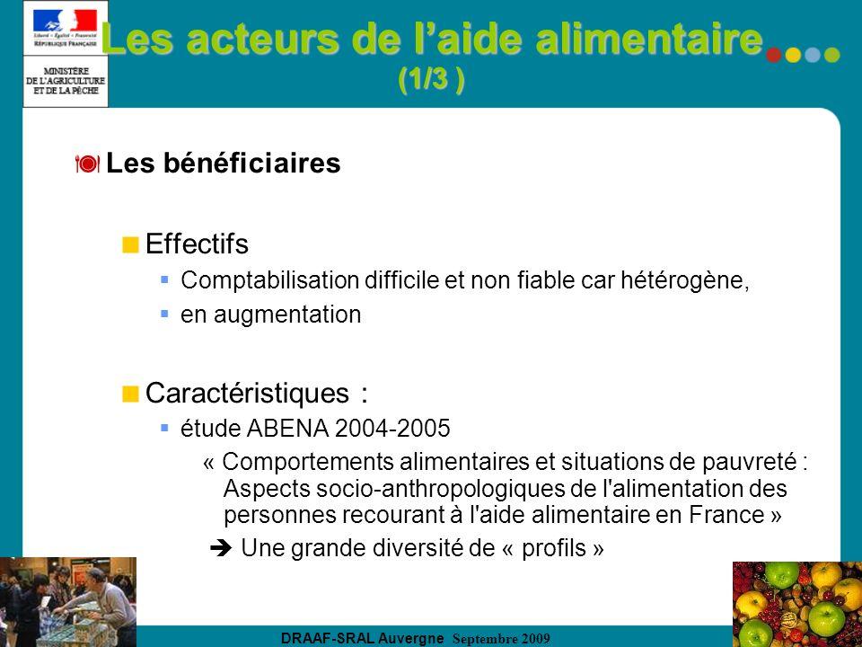 DRAAF-SRAL Auvergne Septembre 2009 Les acteurs de laide alimentaire (1/3 ) Les bénéficiaires Effectifs Comptabilisation difficile et non fiable car hé