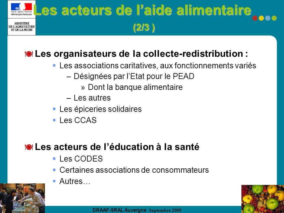 DRAAF-SRAL Auvergne Septembre 2009 Les acteurs de laide alimentaire (2/3 ) Les organisateurs de la collecte-redistribution : Les associations caritati