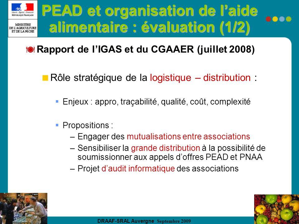 DRAAF-SRAL Auvergne Septembre 2009 PEAD et organisation de laide alimentaire : évaluation (1/2) Rapport de lIGAS et du CGAAER (juillet 2008) Rôle stra