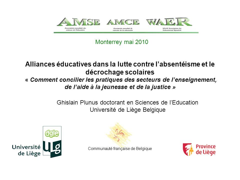 Alliances éducatives dans la lutte contre labsentéisme et le décrochage scolaires « Comment concilier les pratiques des secteurs de lenseignement, de