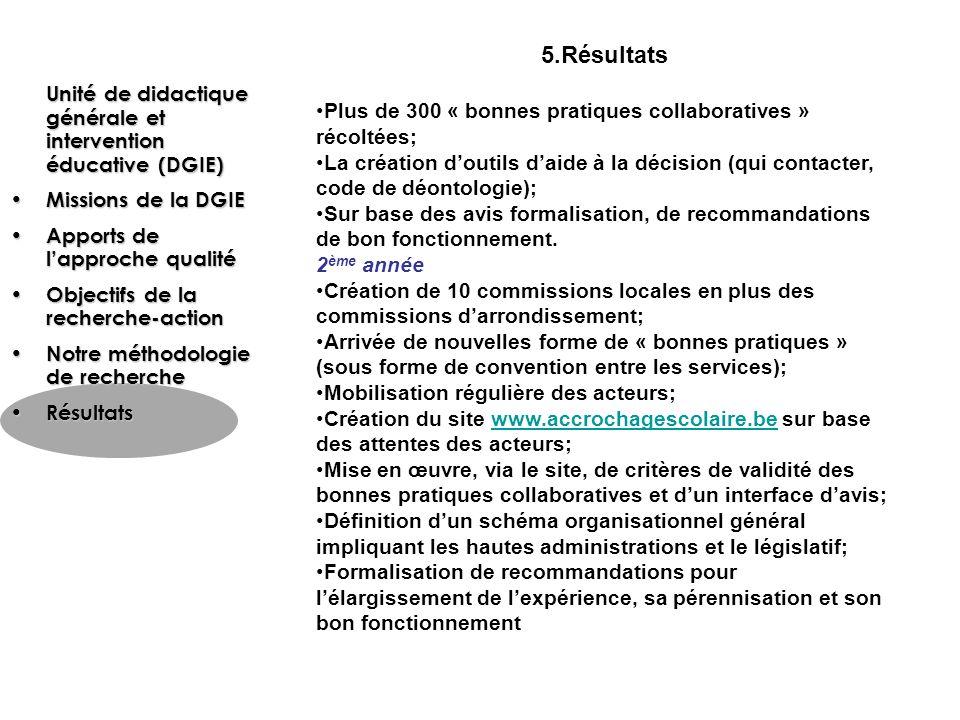 5.Résultats Plus de 300 « bonnes pratiques collaboratives » récoltées; La création doutils daide à la décision (qui contacter, code de déontologie); S