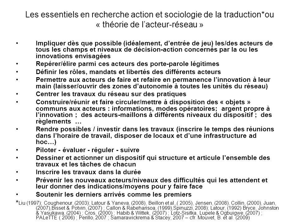 Les essentiels en recherche action et sociologie de la traduction*ou « théorie de lacteur-réseau » Impliquer dès que possible (idéalement, dentrée de