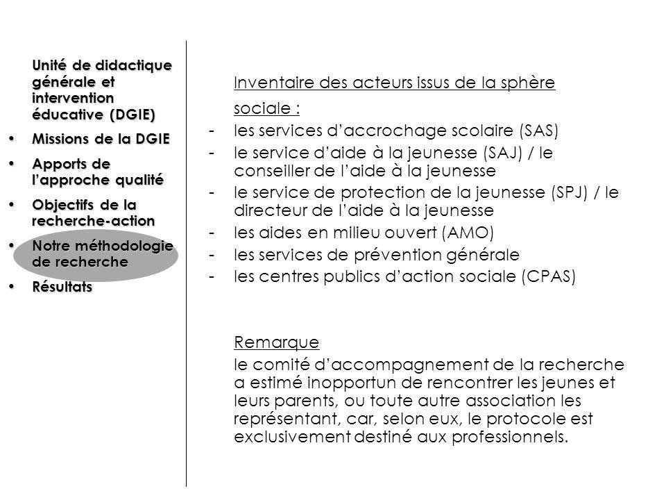 Inventaire des acteurs issus de la sphère sociale : -les services daccrochage scolaire (SAS) -le service daide à la jeunesse (SAJ) / le conseiller de