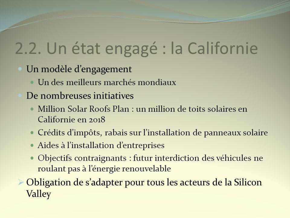2.2. Un état engagé : la Californie Un modèle dengagement Un des meilleurs marchés mondiaux De nombreuses initiatives Million Solar Roofs Plan : un mi