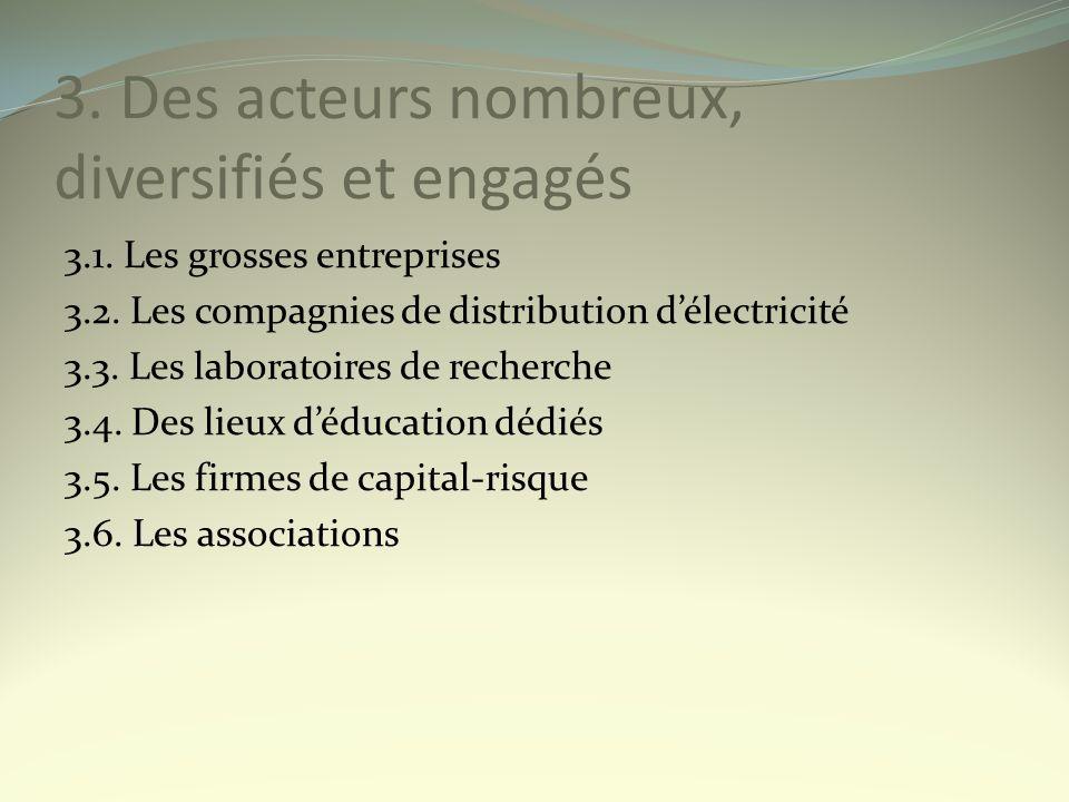3. Des acteurs nombreux, diversifiés et engagés 3.1. Les grosses entreprises 3.2. Les compagnies de distribution délectricité 3.3. Les laboratoires de