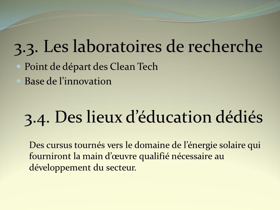 3.3. Les laboratoires de recherche Point de départ des Clean Tech Base de linnovation 3.4. Des lieux déducation dédiés Des cursus tournés vers le doma