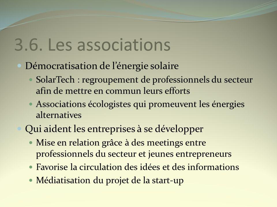 3.6. Les associations Démocratisation de lénergie solaire SolarTech : regroupement de professionnels du secteur afin de mettre en commun leurs efforts