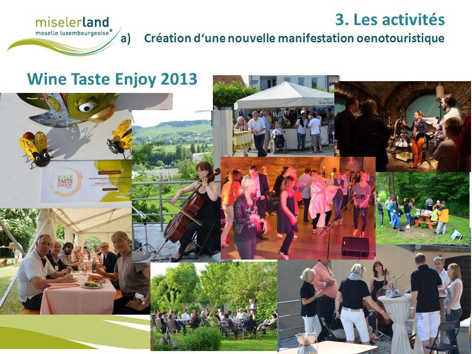 3. Les activités a)Création dune nouvelle manifestation oenotouristique Wine Taste Enjoy 2013