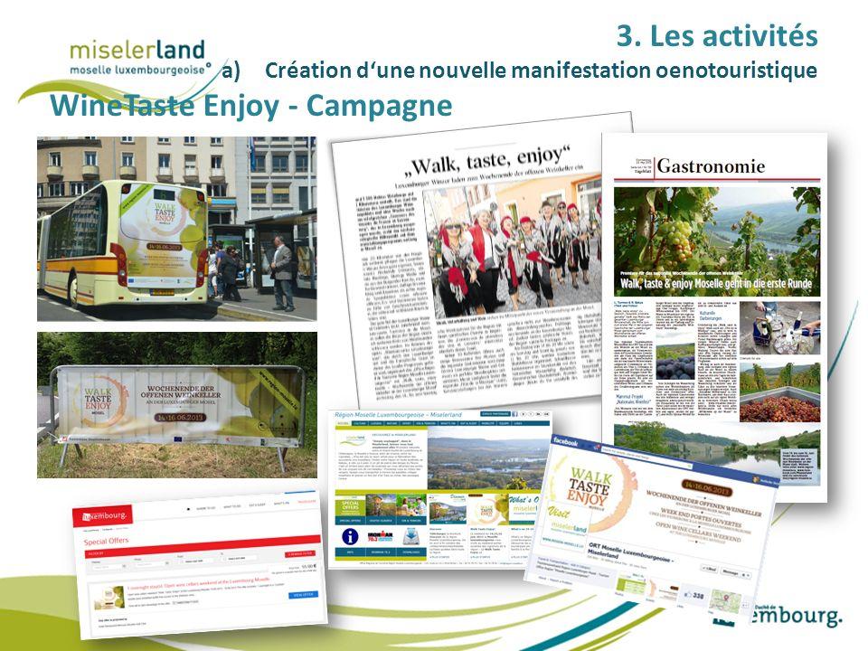 3. Les activités a)Création dune nouvelle manifestation oenotouristique WineTaste Enjoy - Campagne