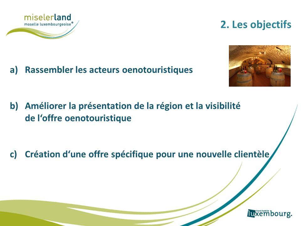 2. Les objectifs a)Rassembler les acteurs oenotouristiques b)Améliorer la présentation de la région et la visibilité de loffre oenotouristique c)Créat