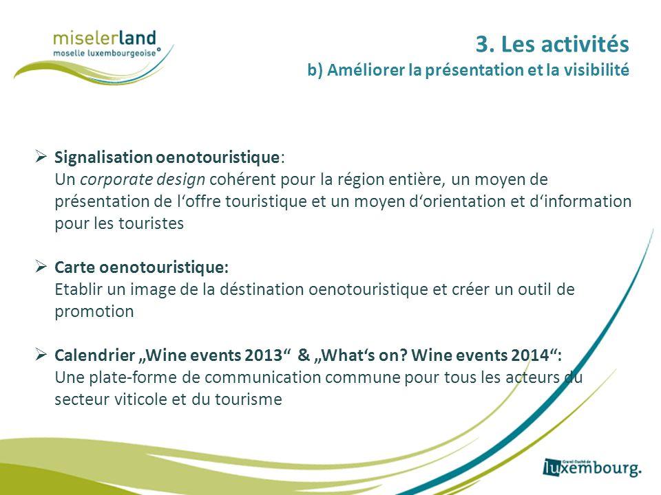 3. Les activités b) Améliorer la présentation et la visibilité Signalisation oenotouristique: Un corporate design cohérent pour la région entière, un