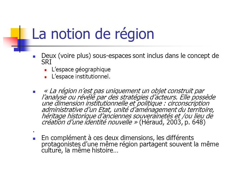 La notion de région Deux (voire plus) sous-espaces sont inclus dans le concept de SRI Lespace géographique Lespace institutionnel.