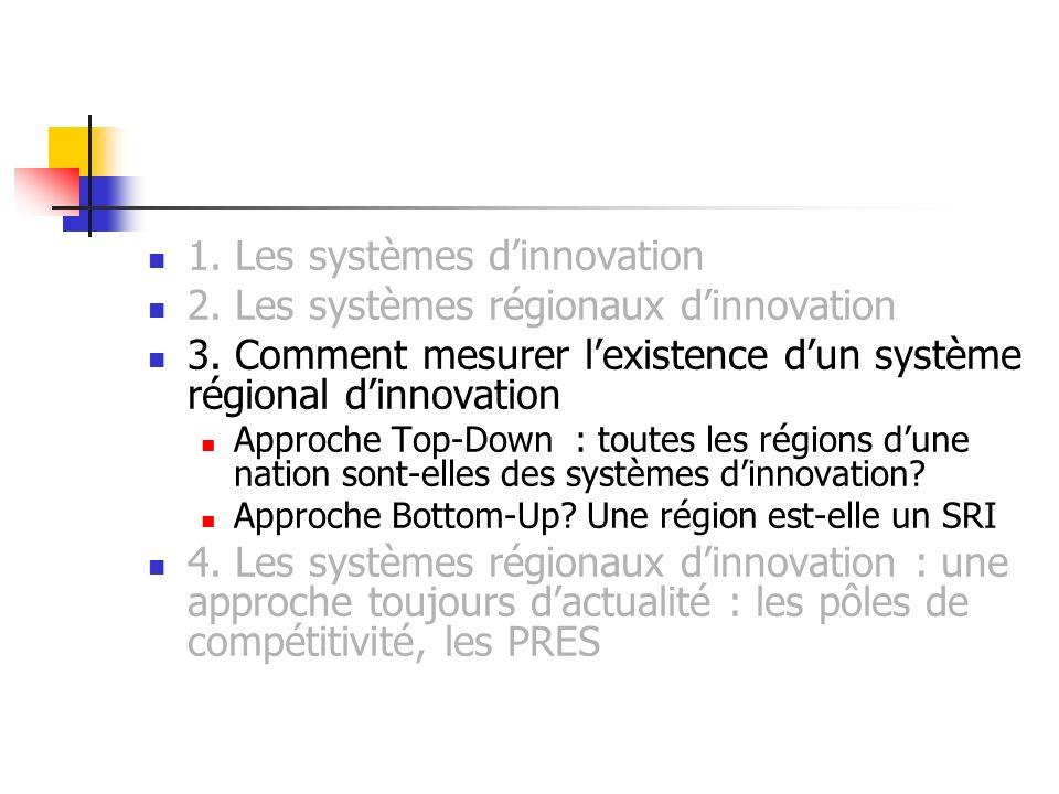 1. Les systèmes dinnovation 2. Les systèmes régionaux dinnovation 3. Comment mesurer lexistence dun système régional dinnovation Approche Top-Down : t