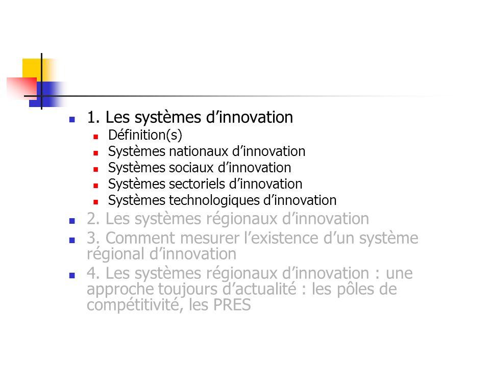 1. Les systèmes dinnovation Définition(s) Systèmes nationaux dinnovation Systèmes sociaux dinnovation Systèmes sectoriels dinnovation Systèmes technol