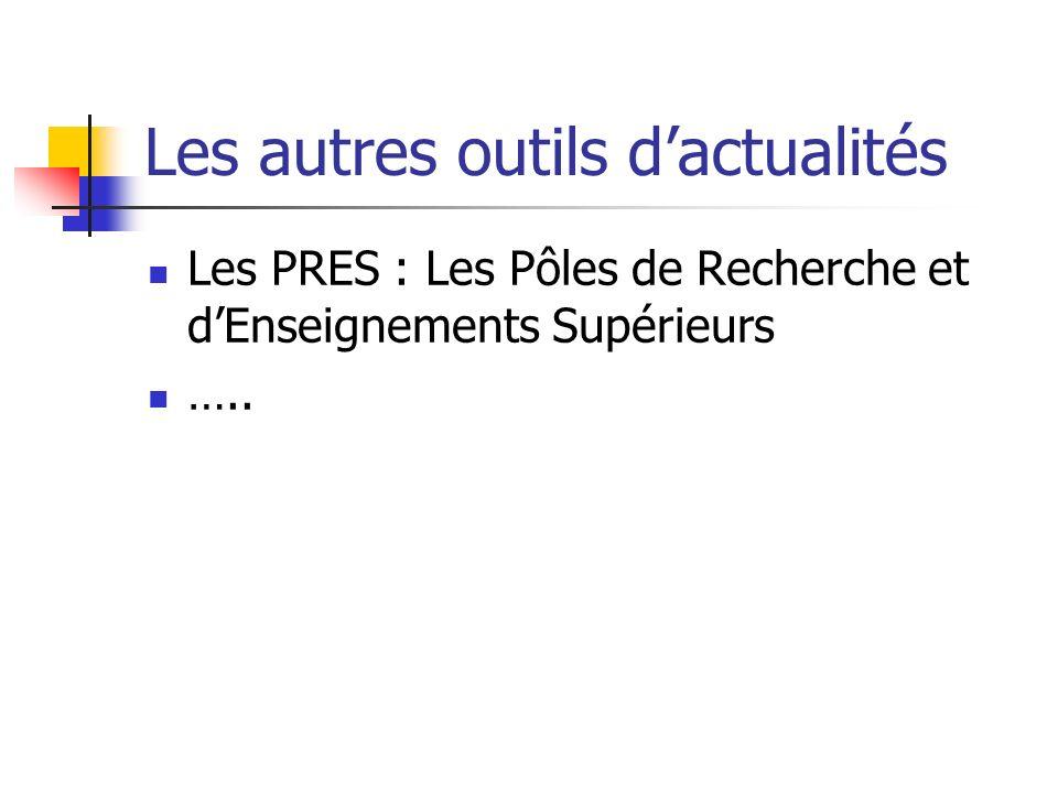 Les autres outils dactualités Les PRES : Les Pôles de Recherche et dEnseignements Supérieurs …..