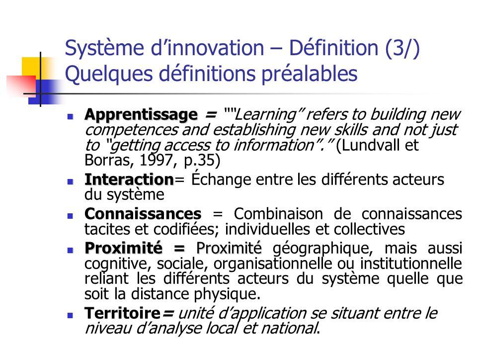 Système dinnovation – Définition (4/) On revient sur la définition Ainsi, les innovations peuvent se former dans un territoire à partir dune création et dun échange de connaissances, cest à dire à travers un apprentissage que lon peut qualifier dapprentissage par interaction.