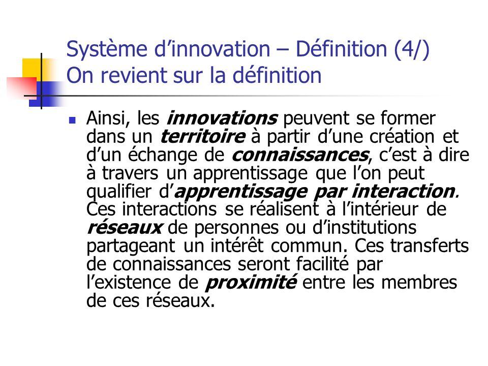 Système dinnovation – Définition (4/) On revient sur la définition Ainsi, les innovations peuvent se former dans un territoire à partir dune création
