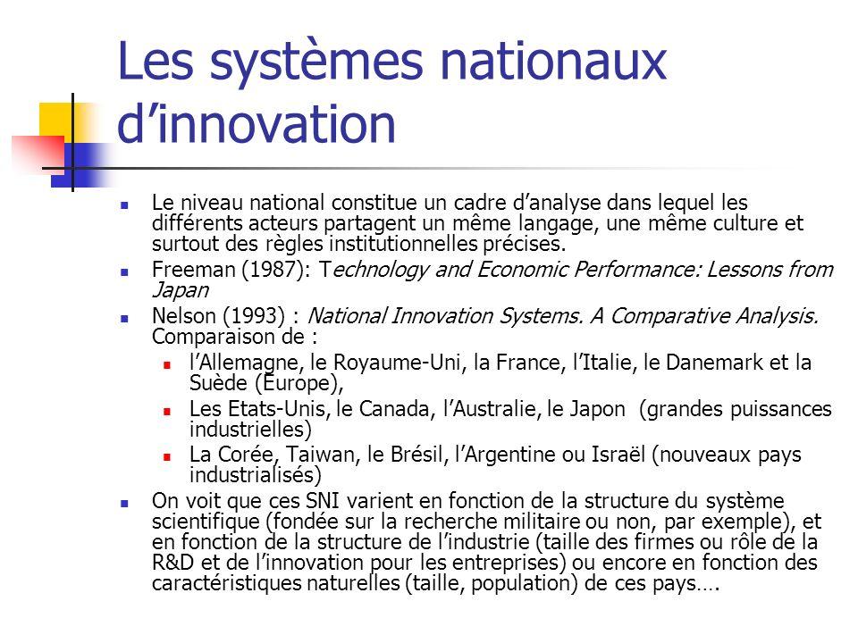 Les systèmes nationaux dinnovation Le niveau national constitue un cadre danalyse dans lequel les différents acteurs partagent un même langage, une même culture et surtout des règles institutionnelles précises.