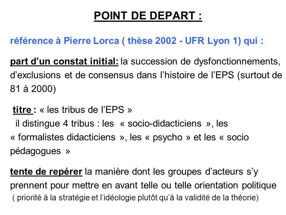 POINT DE DEPART : référence à Pierre Lorca ( thèse 2002 - UFR Lyon 1) qui : part dun constat initial: la succession de dysfonctionnements, dexclusions et de consensus dans lhistoire de lEPS (surtout de 81 à 2000) titre : « les tribus de lEPS » il distingue 4 tribus : les « socio-didacticiens », les « formalistes didacticiens », les « psycho » et les « socio pédagogues » tente de repérer la manière dont les groupes dacteurs sy prennent pour mettre en avant telle ou telle orientation politique ( priorité à la stratégie et lidéologie plutôt quà la validité de la théorie)