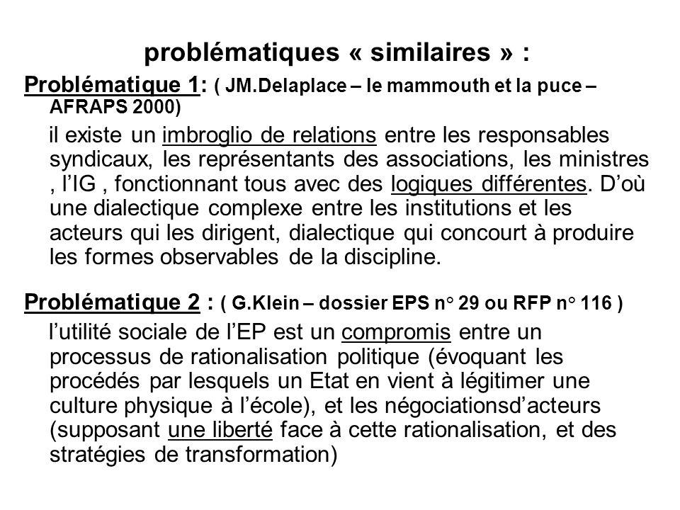 problématiques « similaires » : Problématique 1: ( JM.Delaplace – le mammouth et la puce – AFRAPS 2000) il existe un imbroglio de relations entre les responsables syndicaux, les représentants des associations, les ministres, lIG, fonctionnant tous avec des logiques différentes.