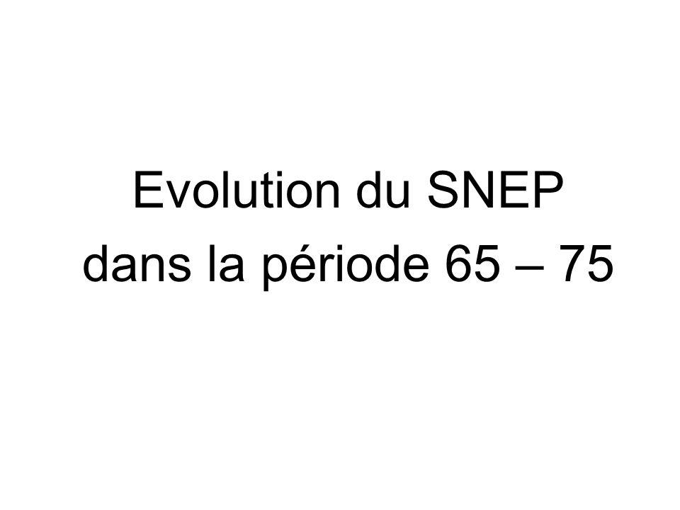 Evolution du SNEP dans la période 65 – 75