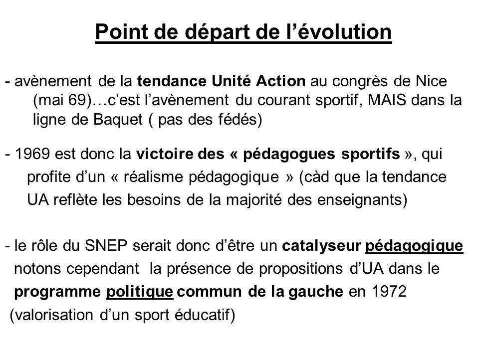Point de départ de lévolution - avènement de la tendance Unité Action au congrès de Nice (mai 69)…cest lavènement du courant sportif, MAIS dans la ligne de Baquet ( pas des fédés) - 1969 est donc la victoire des « pédagogues sportifs », qui profite dun « réalisme pédagogique » (càd que la tendance UA reflète les besoins de la majorité des enseignants) - le rôle du SNEP serait donc dêtre un catalyseur pédagogique notons cependant la présence de propositions dUA dans le programme politique commun de la gauche en 1972 (valorisation dun sport éducatif)
