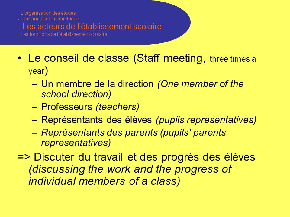 - Lorganisation des études - Lorganisation hiérarchique - Les acteurs de létablissement scolaire - Les fonctions de létablissement scolaire Le conseil de classe (Staff meeting, three times a year ) –Un membre de la direction (One member of the school direction) –Professeurs (teachers) –Représentants des élèves (pupils representatives) –Représentants des parents (pupils parents representatives) => Discuter du travail et des progrès des élèves (discussing the work and the progress of individual members of a class)