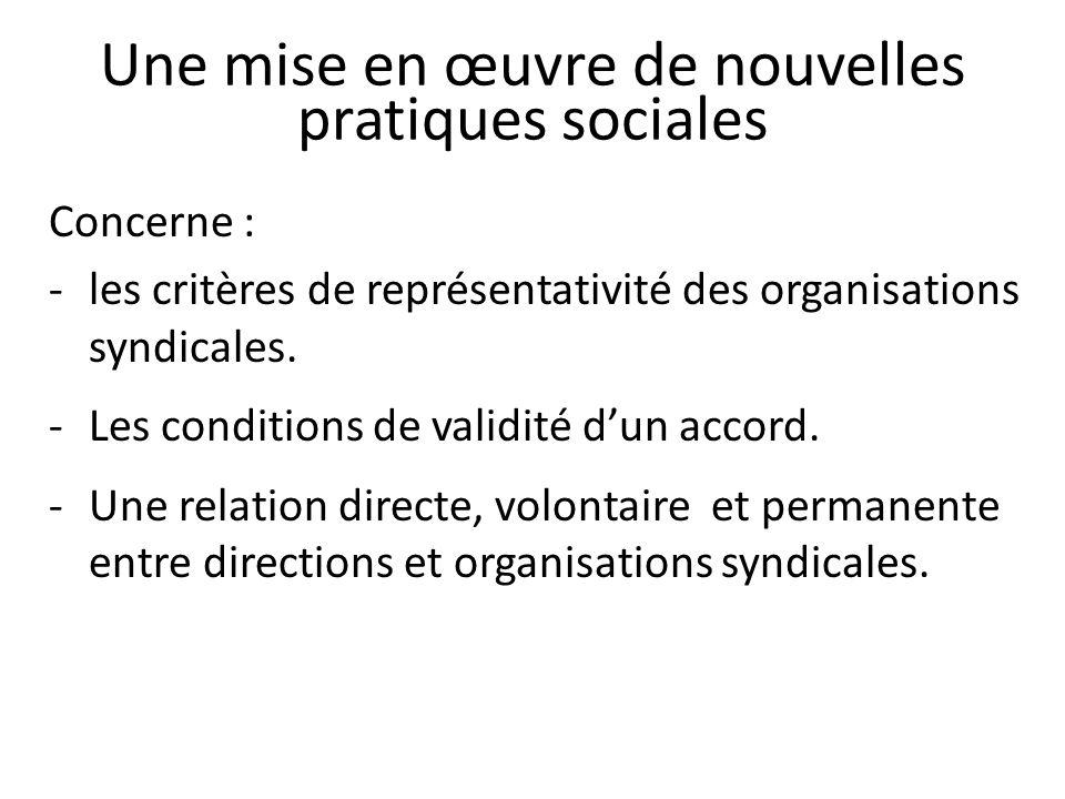 Une mise en œuvre de nouvelles pratiques sociales Concerne : -les critères de représentativité des organisations syndicales.