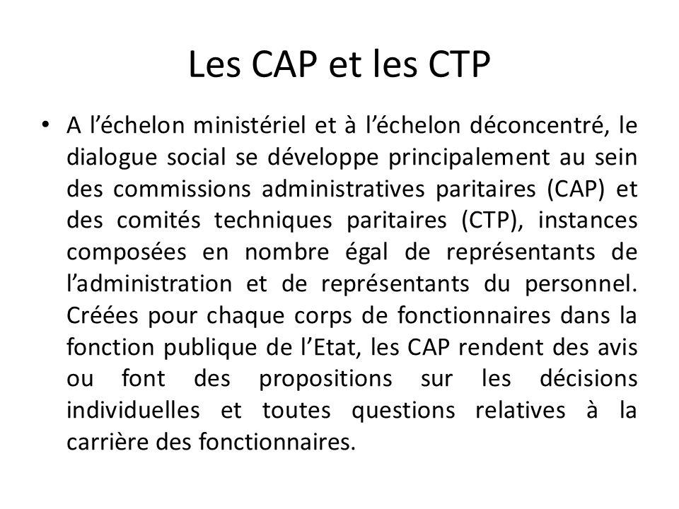 Les CAP et les CTP A léchelon ministériel et à léchelon déconcentré, le dialogue social se développe principalement au sein des commissions administratives paritaires (CAP) et des comités techniques paritaires (CTP), instances composées en nombre égal de représentants de ladministration et de représentants du personnel.