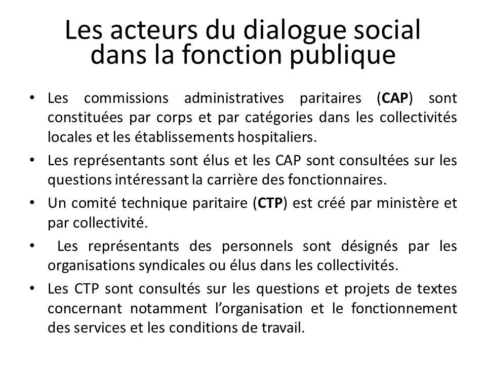 Les acteurs du dialogue social dans la fonction publique Les commissions administratives paritaires (CAP) sont constituées par corps et par catégories dans les collectivités locales et les établissements hospitaliers.