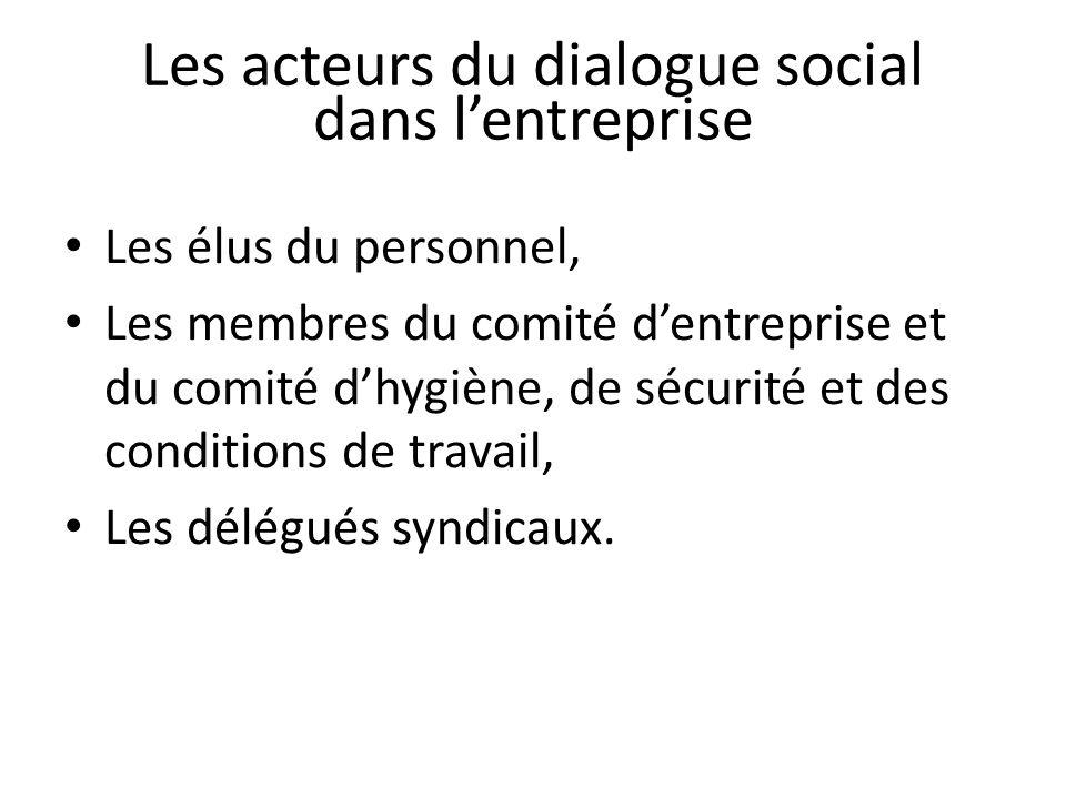 Les acteurs du dialogue social dans lentreprise Les élus du personnel, Les membres du comité dentreprise et du comité dhygiène, de sécurité et des conditions de travail, Les délégués syndicaux.