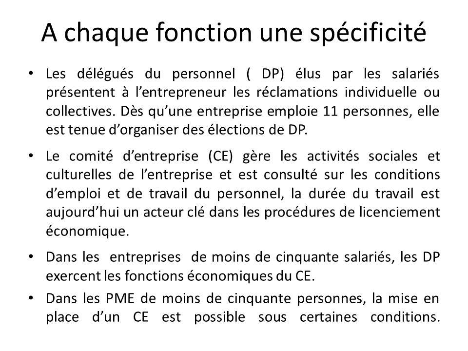 A chaque fonction une spécificité Les délégués du personnel ( DP) élus par les salariés présentent à lentrepreneur les réclamations individuelle ou collectives.