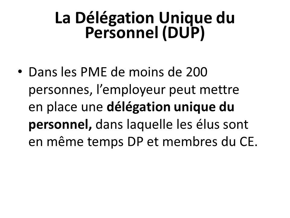 La Délégation Unique du Personnel (DUP) Dans les PME de moins de 200 personnes, lemployeur peut mettre en place une délégation unique du personnel, dans laquelle les élus sont en même temps DP et membres du CE.